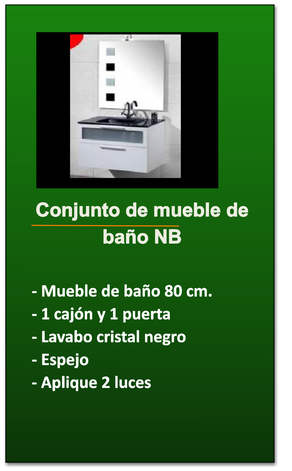 Azulejos Para Baños En Talavera Dela Reina:Conjunto de mueble de baño NB – Mueble de baño 80 cm – 1 cajón y 1